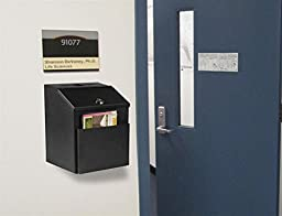 Displays2go Suggestion Box with Lock for Wall Mount or Tabletop Use, Locking Hinged Lid, Pocket for Donation Forms or Envelopes - Black (STBOXBLK)