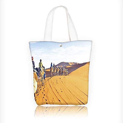 Camel Braided Rug - Canvas Tote Bag Camel caravan going through the sand dunes in the Sahara Hanbag Women Shoulder Bag Fashion Tote Bag W11xH11xD3 INCH
