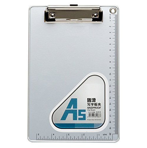 (Chris.W A5 Recycled Aluminum Clipboard with Low Profile Clip and Hanging Hole - Cm & Inch Dual Scales Stationery(6''x 9''))