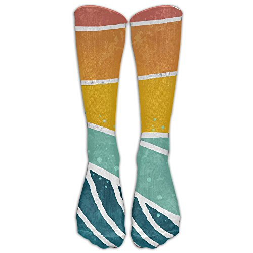 Vintage Sea Wave On Sunset Compression Thigh High Socks For Women And Men | Athletic Tube Stockings