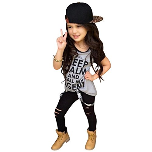- TIFENNY Girls Outfit Clothes Print T-Shirt Tops+Long Pants Trousers 1Set (5T) Gray