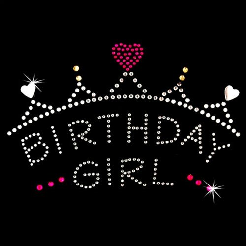 Iron on Hot Fix Rhinestone Motif Design Birthday Girl