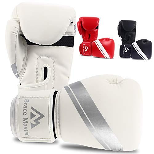 Brace Master Boxing Gloves, Heavy Bag Punching Mitts Gloves, Men Women Gel Kickboxing Muay Thai Sparring Fighting Training Fight Gloves, Sports&Outdoor(White, ()
