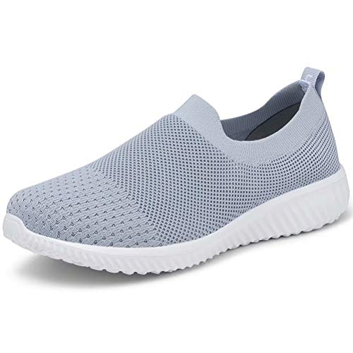 LANCROP Women's Comfortable Walking Shoes - Lightweight Mesh Slip On Athletic Sneakers 9.5 M US Grey