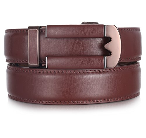 Mio Marino Ratchet Belts for Men - Genuine Leather Dress Belt - Automatic Buckle (Slim Classic - Brown, Adjustable from 28