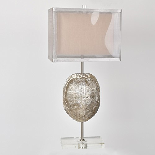 Tortoise Silver Finish Resin Turtle Shell Table Lamp 25 Inches - Tortoise Finish