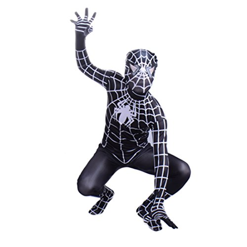 Wraith Of East Black Venom Spiderman Costume Cosplay Bodysuit Kids-M (Mens Black Spiderman Costume)