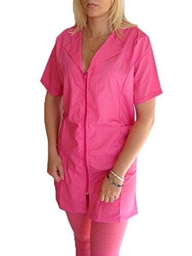 Bata mujer ropa trabajo manga corta verano cremallera algodón esteticista, fucsia, S