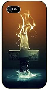 LJF phone case Jesus Christ cross, fire and holly water - Bible verse iPhone 5C black plastic case / Christian verses