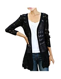 Shawhuaa Womens Crochet Knitted Open Front Cardigan Pocket Sweater