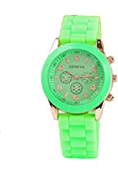 Geneva Green Silicone Wristband Quartz Watch