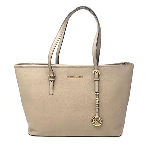 Michael Kors Womens Jet Set Travel Leather Tote Shopper Handbag Taupe Large ()