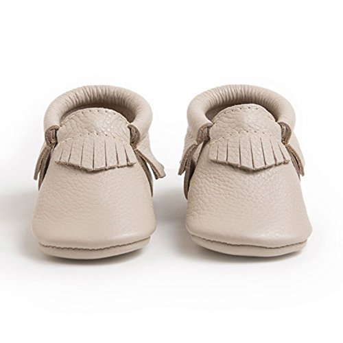 Image of Freshly Picked Soft Sole Leather Baby Moccasins - Birch - Size 3