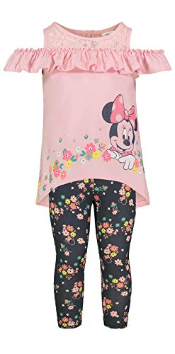 Disney (974380MIS) Girls' Minnie Mouse Short-Sleeve Fashion Shirt & Capri Legging Outfit Set 4-6X in Lilac, 4 ()