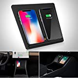 SUPAREE Center Console Wireless Charger with Dual USB Ports for Tesla Model 3 Accessories, Dual Phone Wireless Charging Pad Panel Car Chargers