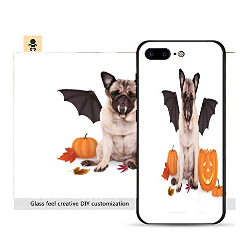 iPhone 7p / 8p Ultra-Thin Phone case Pug Dog Dressed up as bat for Halloween with Funny Pumpkin Lantern Resistance to Falling, Non-Slip, Soft, Convenient Protective case ()