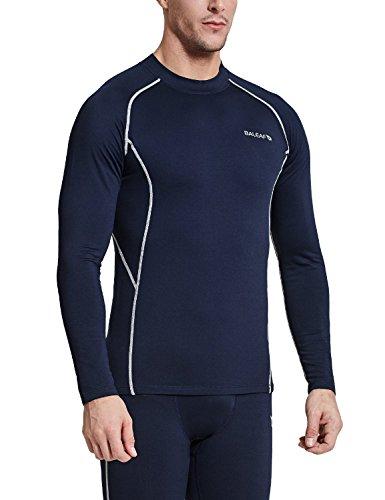 Baleaf Mens Thermal Compression Shirts Fleece Baselayer Long Sleeve Top Mock Neck Navy/Grey Size L