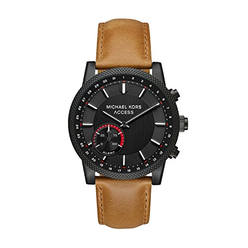 (Michael Kors Access Men's 'Hutton Hybrid Smartwatch' Quartz Stainless Steel and Leather Casual Watch, Color Brown (Model:)