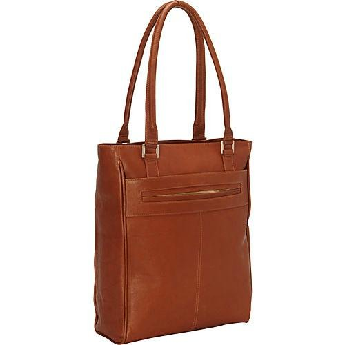 Piel Leather Vertical Laptop Tote, Saddle, One Size by Piel Leather