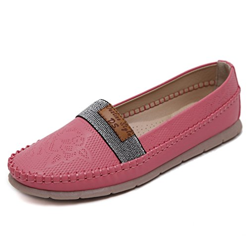 CYBLING Fashion Comfort Women Slip On Loafers Shoes for Outdoor Casual Walking Soft Soled Flats Red