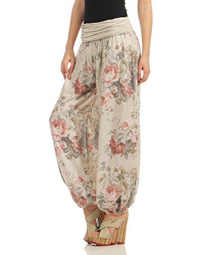 Por Flores Size Harén Toda One Pantalones Bloomers beige Los Verano Señoras Zarmexx Impresión De qw601R4