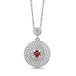 Round Red Garnet White Diamond Pendant