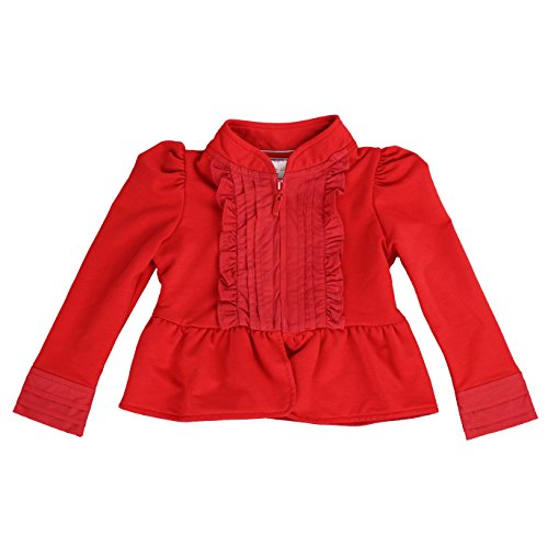 Jacket French Kiss (LELEFORKIDS- Toddlers and Girls French Terry Knitt | Kiss of Joy Zip-Up Jacket in Red 7/8)