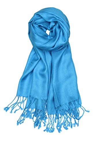 Achillea Large Soft Silky Pashmina Shawl Wrap Scarf in Solid Colors (Turquoise)