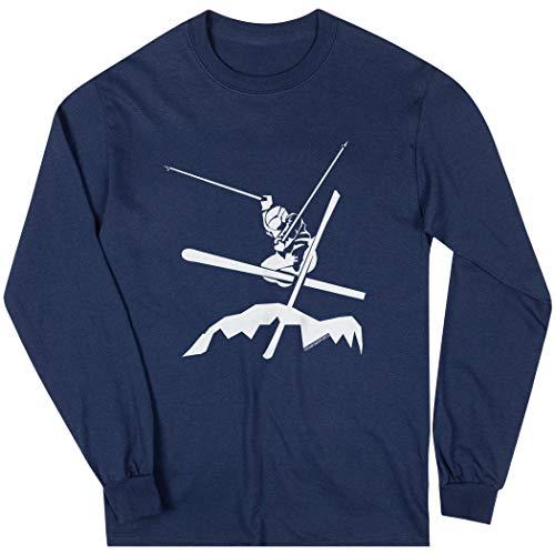 ChalkTalkSPORTS Skiing Long Sleeve T-Shirt | Airborne Skiing | Navy | Small ()