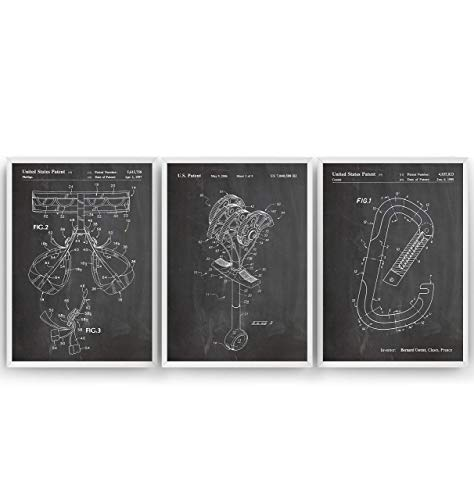 Rock Climbing Patent Prints - Set Of 3 - Vintage Poster Wall Art Posters Gifts For Men Women Games Sports Room Blueprint Decor - Frame Not Included