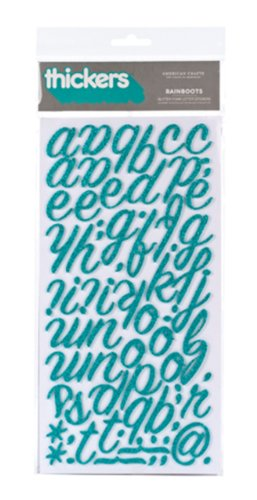 American Crafts Thickers Glitter Foam Letter Stickers, Rainboots Aqua