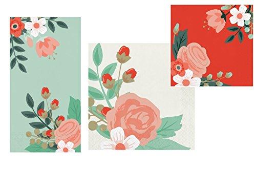 Floral Theme Napkins Set - Bundle Includes Guest Napkins/Towels, Lunch Napkins, and Beverage Napkins in Modern Floral Designs by Elise