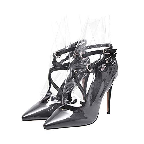 (Rex rabbit-SS Fetish High Heels Fashion Women's Shoes Large Size Women's Sheepskin Lining Fashion Shoes,Black,34)