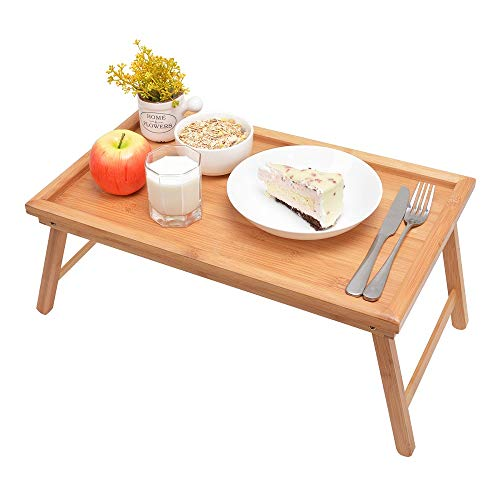 Zhuoyue Bamboo Bed Tray with Folding Legs, Lap Tray with Lipped Tabletop Great for Breakfast in Bed or Dinner by The TV, Use As Lap Drawing Table or Eating ()