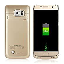 Galaxy S6 Battery Case, SQdeal [U.S. Stock] 4200mAh Rechargeable External Backup Battery Case Power Bank with Kickstand, Portable Charging Case for Samsung Galaxy S6 G920 All Version (Gold)