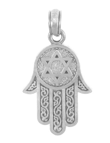 14k Gold Jewish Star of David Charm Hamesh Hand Hamsa Pendant (White-gold) by Jewish Jewelry by FDJ