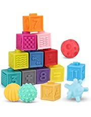 Nueplay Baby Blocks Toys Early Learning Building Blocks Ball Set Teethers Babies Bath Toys Squeeze Play with Numbers Shapes Animals Fruit and Textures Toy for 3 Year Old Toddlers – 16 PCS