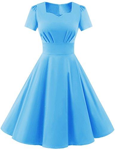 50s blue prom dress - 8