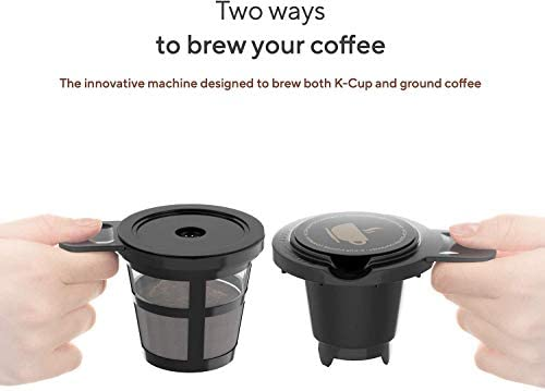 Sboly Single Serve Coffee Maker Machine with Thermal Mug, Compatible with K Cup Pod and Ground Coffee, 3 Mins Fast Brew Single Cup Coffee Makers Brewer, 6 to 14 Oz Brew Size Salted Salad