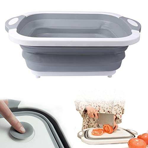 Collapsible Dish Tub,Foldable Food Strainers Dishpan Colander Over the Sink Fruits/Vegetable Draining Basket,Folding Cutting Board for Camping, Picnic,BBQ,Kitchen