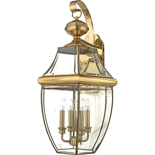 (Quoizel NY8339B Newbury Outdoor Wall Lantern Wall Mount Lighting, 4-Light, 240 Watts, Polished Brass (29