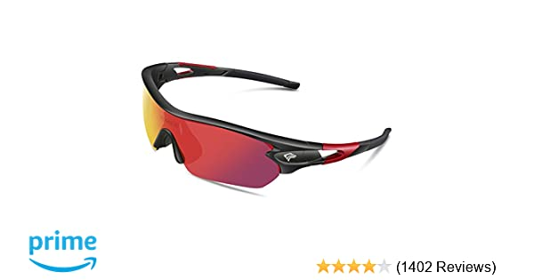 8fe628a7d7 Amazon.com  TOREGE Polarized Sports Sunglasses with 5 Interchangeable Lenes for  Men Women Cycling Running Driving Fishing Golf Baseball Glasses TR002  (Black ...