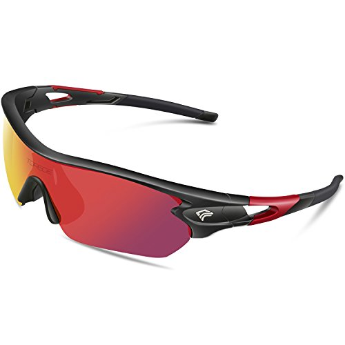 Torege Polarized Sports Sunglasses With 5 Interchangeable Lenes for Men Women Cycling Running Driving Fishing Golf Baseball Glasses TR002 (Black Red &Red - Sunglasses Climbing