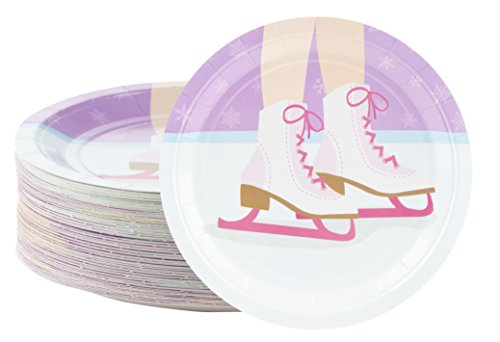 Disposable Plates - 80-Count Paper Plates, Ice Skating Party Supplies for Appetizer, Lunch, Dinner, and Dessert, Kids Birthdays, 9 x 9 Inches