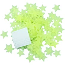 """HoneyToys 200PCS 1.2"""" Luminous Stars Glow in the Dark Fluorescent Noctilucent Plastic Wall Stickers Decals for Home Ceiling Wall Baby Kids Bedroom (yellow)"""