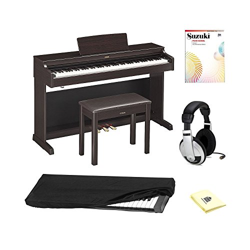 Swing Yamaha (Yamaha YDP163R 88 key Traditional Console Home Digital Piano with Piano Bench, New International Edition Piano Book+CD (Vol-1), Stereo Headphones, Dust Cover and Zorro Sounds Piano Polishing Cloth)