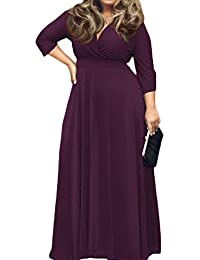 Womens Solid V-Neck 3/4 Sleeve Plus Size Evening Party Maxi Dress