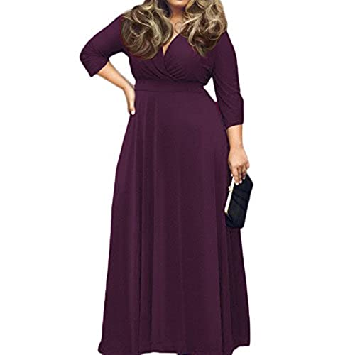 POSESHE Womens Solid V-Neck 3/4 Sleeve Plus Size Evening Party Maxi Dress Purple XL