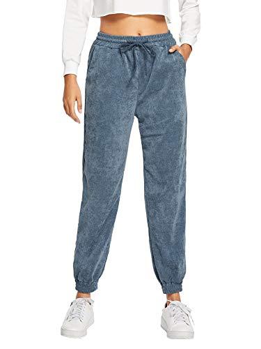 SweatyRocks Women's Pants Casual Pockets Corduroy Sweatpants Navy M