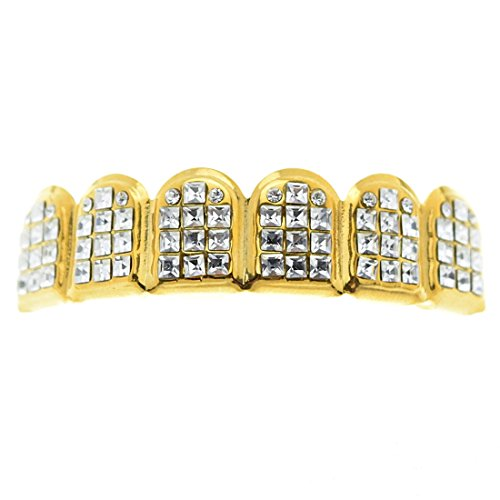 (VIP Grillz Iced-Out Six Tooth Top Upper Grill 14k Gold Plated Princess-Cut Teeth Grills)